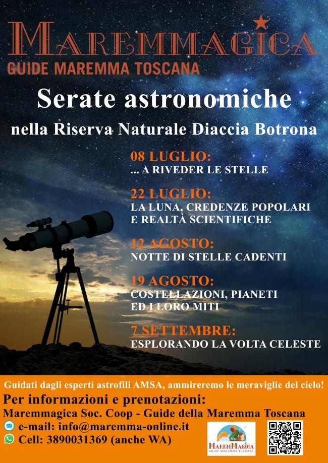 Calendario serate astronomiche estate 2021, per vivere segreti e magie nascoste del meraviglioso cielo notturno dellaMaremma Toscana